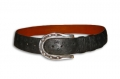 "1.5"" Ostrich Belt w/ Sterling Horseshoe Buckle, Peter Hoffman"