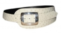 "4"" Ostrich Radius Cut Belt w/ Sterling Buckle by Peter Hoffman"